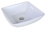"""American Imaginations 16.5""""W x 16.5""""D Above Counter Square Vessel Set In White Color w/ Deck Mount CUPC Faucet"""