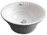 """American Imaginations 17"""" W x 17"""" D Above Counter Round Vessel in White Color for Deck Mount Faucet"""