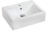 """American Imaginations 20.25"""" W x 16.25"""" D Wall Mount Rectangle Vessel in White Color for Single Hole Faucet"""
