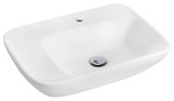 """American Imaginations 23.5"""" W x 17.25"""" D Wall Mount Rectangle Vessel in White Color for Single Hole Faucet"""