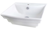 """American Imaginations 19.75"""" W x 17"""" D Wall Mount Rectangle Vessel in White Color for Single Hole Faucet"""