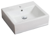 """American Imaginations 21"""" W x 16.5"""" D Wall Mount Rectangle Vessel in White Color for Single Hole Faucet"""