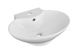 """American Imaginations 22.75"""" W x 17.25"""" D Wall Mount Oval Vessel in White Color for Single Hole Faucet"""