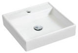 """American Imaginations 17.5"""" W x 17.5"""" D Wall Mount Square Vessel in White Color for Single Hole Faucet"""