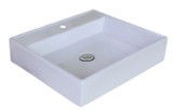 """American Imaginations 17"""" W x 17"""" D Above Counter Square Vessel in White Color for Single Hole Faucet"""
