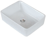 "American Imaginations 18.75"" W x 14.75"" D Above Counter Rectangle Vessel in White Color for Deck Mount Faucet"