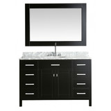 """Design Element London 54"""" Single Sink Vanity Set in Espresso with White Carrera Marble Top"""