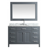 """Design Element London 54"""" Single Sink Vanity Set in Grey with White Carrera Marble Top"""