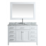 """Design Element London 54"""" Single Sink Vanity Set in White with White Carrera Marble Top"""