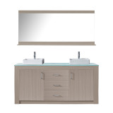 "Virtu USA Tavian 72"" Double Bathroom Vanity in Grey Oak w/ Aqua Tempered Glass Top & Square Sink w/ Polished Chrome Faucet & Mirror"