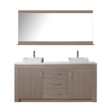 "Virtu USA Tavian 72"" Double Bathroom Vanity in Grey Oak w/ White Engineered Stone Top & Square Sink w/ Polished Chrome Faucet & Mirror"