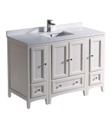 """Fresca Oxford 48"""" Antique White Traditional Bathroom Cabinets w/ Top & Sink"""
