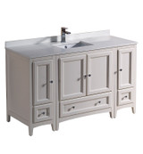 """Fresca Oxford 54"""" Antique White Traditional Bathroom Cabinets w/ Top & Sink"""
