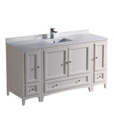 """Fresca Oxford 60"""" Antique White Traditional Bathroom Cabinets w/ Top & Sink"""