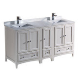 Fresca Oxford 60 Antique White Traditional Double Sink Bathroom Cabinets w/ Top & Sinks