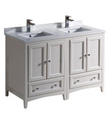 """Fresca Oxford 48"""" Antique White Traditional Double Sink Bathroom Cabinets w/ Top & Sinks"""