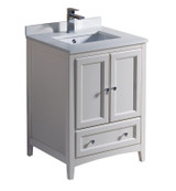 """Fresca Oxford 24"""" Antique White Traditional Bathroom Cabinet w/ Top & Sinks"""
