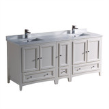 Fresca Oxford 72 Antique White Traditional Double Sink Bathroom Cabinets w/ Top & Sinks