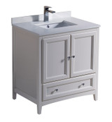 """Fresca Oxford 30"""" Antique White Traditional Bathroom Cabinet w/ Top & Sink"""