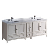 """Fresca Oxford 84"""" Antique White Traditional Double Sink Bathroom Cabinets w/ Top & Sinks"""