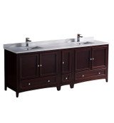 """Fresca Oxford 84"""" Mahogany Traditional Double Sink Bathroom Cabinets w/ Top & Sinks"""