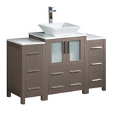 Fresca Torino 48 Gray Oak Modern Bathroom Cabinets w/ Top & Vessel Sink