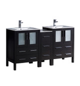 "Fresca Torino 60"" Espresso Modern Double Sink Bathroom Cabinets w/ Integrated Sinks"