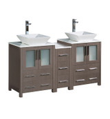 "Fresca Torino 60"" Gray Oak Modern Double Sink Bathroom Cabinets w/ Tops & Vessel Sinks"
