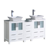 "Fresca Torino 60"" White Modern Double Sink Bathroom Cabinets w/ Tops & Vessel Sinks"