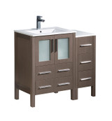 "Fresca Torino 36"" Gray Oak Modern Bathroom Cabinets w/ Integrated Sinks"