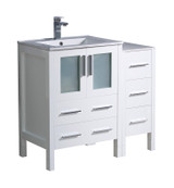 "Fresca Torino 36"" White Modern Bathroom Cabinets w/ Integrated Sink"