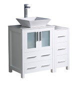 "Fresca Torino 36"" White Modern Bathroom Cabinets w/ Top & Vessel Sink"