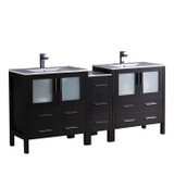 "Fresca Torino 72"" Espresso Modern Double Sink Bathroom Cabinets w/ Integrated Sinks"