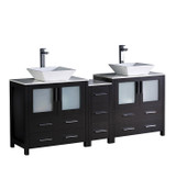 "Fresca Torino 72"" Espresso Modern Double Sink Bathroom Cabinets w/ Tops & Vessel Sinks"