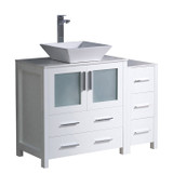 "Fresca Torino 42"" White Modern Bathroom Cabinets w/ Top & Vessel Sink"