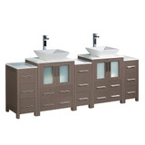 Fresca Torino 84 Gray Oak Modern Double Sink Bathroom Cabinets w/ Tops & Vessel Sinks