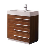 "Fresca Livello 30"" Teak Modern Bathroom Cabinet w/ Integrated Sink"