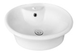 "American Imaginations 19""W x 15.5""D Round Vessel Set White Color w/ Single Hole CUPC Faucet"