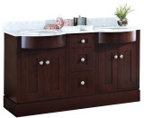 "60""W x 22""D Birch Wood-Veneer Vanity Set Coffee - White Sink,Single Drilling"