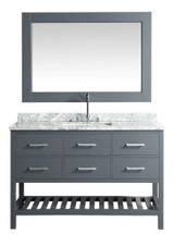 "Design Element London 54"" Single Sink Vanity Set in Gray w/ Marble Top 