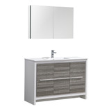 "Fresca Allier Rio 48"" Ash Gray Single Sink Modern Bathroom Vanity Set  w/ Medicine Cabinet"