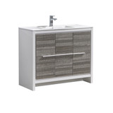 "Fresca Allier Rio 40"" Ash Gray Modern Bathroom Cabinet w/ Sink"