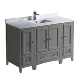 "Fresca Oxford 48"" Gray Traditional Bathroom Cabinets w/ Top & Sink"