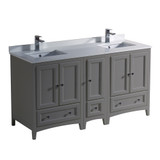 Fresca Oxford 60 Gray Traditional Double Sink Bathroom Cabinets w/ Top & Sinks