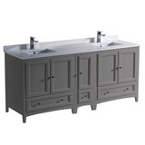 Fresca Oxford 72 Gray Traditional Double Sink Bathroom Cabinets w/ Top & Sinks