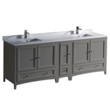 """Fresca Oxford 84"""" Gray Traditional Double Sink Bathroom Cabinets w/ Top & Sinks"""