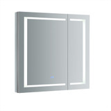 "Fresca Spazio 36"" Wide x 36"" Tall Bathroom Medicine Cabinet w/ LED Lighting & Defogger"
