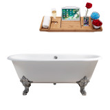 "Streamline 69"" Cast Iron Soaking Clawfoot Tub With External Drain 