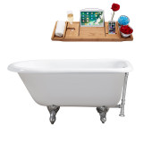 "Streamline 66"" Cast Iron Soaking Clawfoot Tub With External Drain 