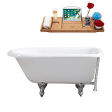 "Streamline 48"" Cast Iron Soaking Clawfoot Tub With External Drain 